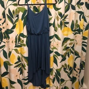 Blue high-low strappy dress